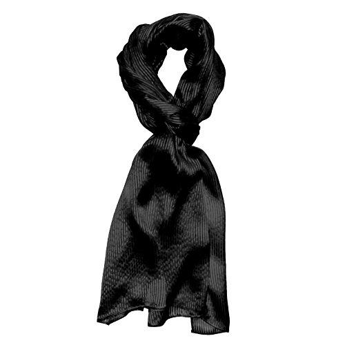 Lorenzo Cana Luxus Herren Seidenschal aufwändig gewebt mit feinen Satinstreifen leichter Schal 100% Seide 50 cm x 190 cm Schaltuch schwarz 8910311
