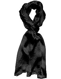 LORENZO CANA Luxus Seidenschal aufwändig gewebt mit feinen Satin - Streifen leichter Schal 100% Seide 50 x 190 cm Schaltuch