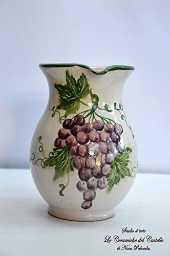 Brocca Linea Uva Realizzata e Dipinta a mano Le Ceramiche del Castello Nina Palomba Pezzo Unico dimensioni altezza 18 larghezza 17, 5 centimentri