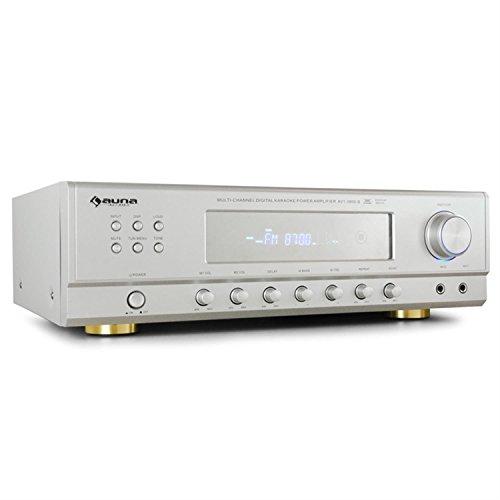 auna AMP-3800-S sintoamplificatore surround ricevitore audio 5.1 multifunzione (600 Watt di potenza, FM, 3 RCA, DVD, home cinema, funzione karaoke, 2 ingressi microfono) - argento