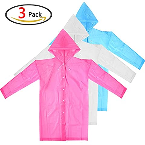 GeMoor 3Pack Portable Women Raincoat, Adult Waterproof Reusable Rain Hooded Poncho with Sleeves -- Perfect For Camping,Daily Use
