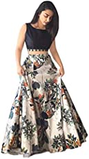 Honestum Women Banglory Silk Party Wear Lehenga Choli(Black Free Size, JP Grey)