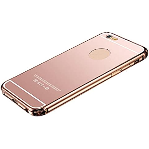 JJ-LJ (TM) - Carcasa ultra-delgada de lujo para iPhone, de aluminio, efecto espejo, de policarbonato, metal, oro rosa, iphone 6s