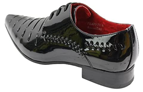 Mens Italian Design Black Red Laced Leather Shiny Patent Shoes Smart Casual