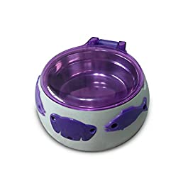 Aquarialand 13.1.79.001 Magic Dog Box Ciotola per Cani con Apertura Automatica a 5 Sens, 17.5cm Ø, 8H cm, Bianco e Viola