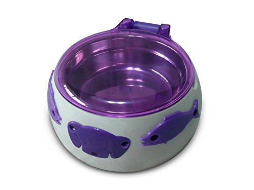 Aquarialand-13179001-Magic-Dog-Box-Ciotola-per-Cani-con-Apertura-Automatica-a-5-Sens-175cm--8H-cm-Bianco-e-Viola
