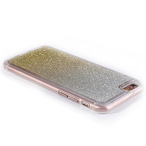 """iPhone 6sPlus Handyhülle, Bling Glitzer Funkeln CLTPY iPhone 6Plus Durchsichtig Dünne Matte Gel Cover Schlanke Hybrid Stoßdämpfende & Kratzfeste Gummi Case mit Kippständer für 5.5"""" Apple iPhone 6Plus/ Gold A"""
