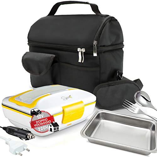 Spice set borsa termica con tracolla + scaldavivande doppio voltaggio 220 v - 12 v amarillo inox trio plus con set posate e vaschetta in acciaio inox 1 litro