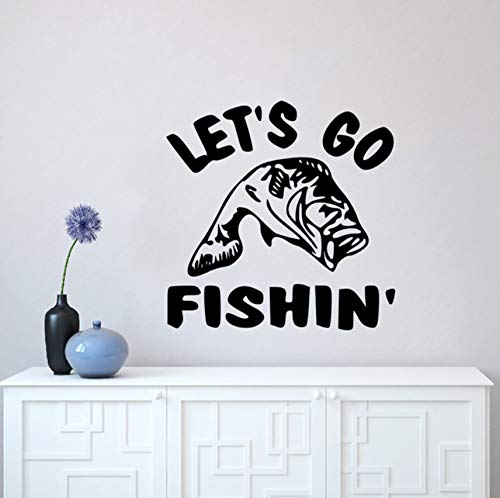 Hwhz 57 X 57 Cm Let'S Go Angeln Zitat Wandaufkleber Die-Cut Wall Decal Angeln Wand Kunst Wandbild Home Decor Fisch Liebhaber Geschenk Vinyl Wallpaper