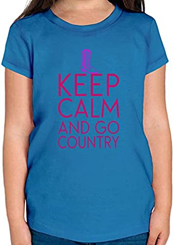 Keep Calm And Go Country Funny Slogan T-shirt Fille 12+ yrs