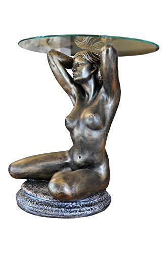 Antikes Wohndesign Runder Beistelltisch Glastisch Figurentisch Couchtisch Frauenskulptur Erotiktisch Frauen Akt Blumenständer Blumentisch Telefontisch
