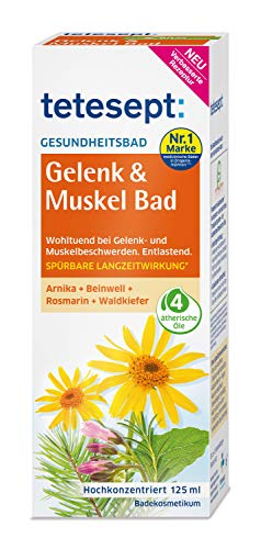 tetesept Gelenk & Muskel Bad – Wohltuendes Gesundheitsbad mit ätherischem Öl – Flüssiger Badezusatz für beanspruchte Muskel- & Gelenkpartien – 2 x 125 ml