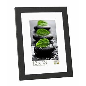 Deknudt Frames S44CF2-10.0X15.0 Bilderrahmen, Holz/MDF, Schlichter Stil, schmal, 18 x 13,7 x 1,33 cm, Schwarz