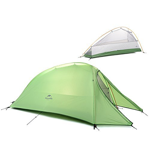 Naturehike 1 Person Outdoor Zelt Double-Layer Zelt Camping Zelt Leicht Zelt ((Green (210T Checked Fabric))