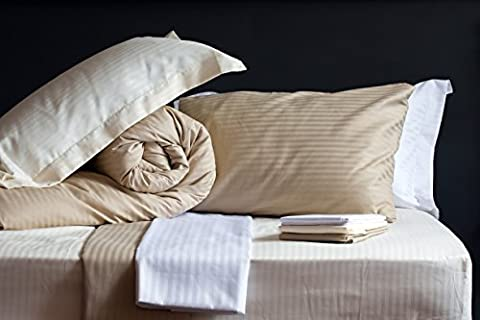 The Bettersleep Company Luxury Hotel Quality Percale Cotton Blend Satin Stripe Duvet Quilt Cover & Pillowcase Set Latte (King Size)