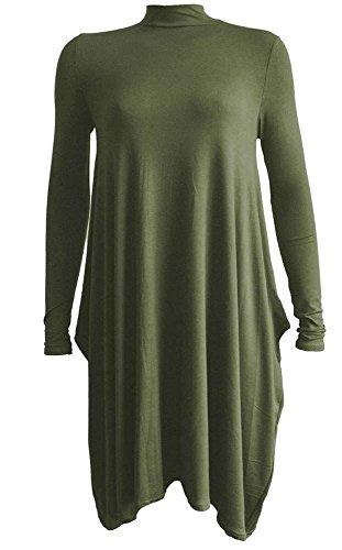 Haute für Diva's Damen Damen NEU Rollkragen Polo Hals langärmlig Swing Kleid 20 Farben größe EU 8-26 Khaki