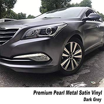 SLB Works Premium Quality Satin Black Matte Vinyl Car Wrap Air Bubble Free for Car Wrapping Foil Size 5ft X 65ft/Roll Color Name Dark Grey Size 1.52m X 20m