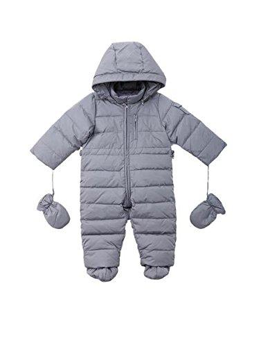 Oceankids Tuta monopezzo / tuta da neve / da passeggino con cappuccio, grigio da bambino e bambina 18-24 Mesi