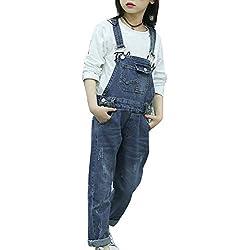 Runyue Fille Salopette Jeans Combinaison avec Bretelles Réglables Denim Jumpsuit 6-8-10-14 Ans Bleu 120CM