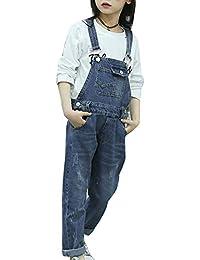Runyue Niñas Mono Pantalón de Mezclilla Jeans Overalls Vaquero Pantalones de Peto 6-8-10-14 Años