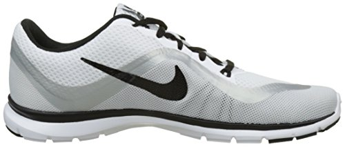 Nike Wmns Flex Trainer 6, Scarpe Indoor Multisport Donna Nero (White / Black / Metallic Platinum)