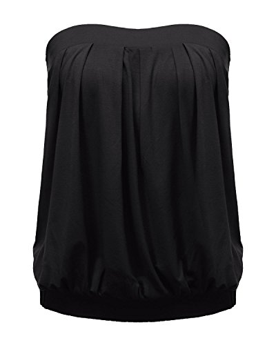 Zanzea Femmes Sexy Bustier Tops Casual Eté Shirt Slim Plissé Froncé Plage épaule Nu Vest Shirt Tube Blouses 01-Noir XXL
