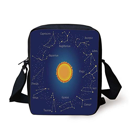 Sky Chart (Astrology,Celestial Star Chart Constellation Around Sun on The Sky Aries Decorative,Dark Blue Orange Print Kids Crossbody Messenger Bag Purse)
