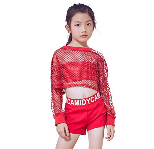 Crop Dance Kostüm Top - 5-teiliges Mädchen Rot Modern Jazz Dance Kostüm Hip Hop Netz Crop Top Shorts Outfits