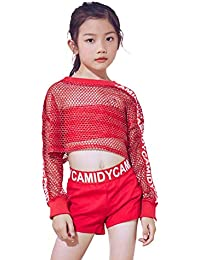 5pcs Girls Red Modern Jazz Hip Hop Dance Costume Stage Performance Outfit