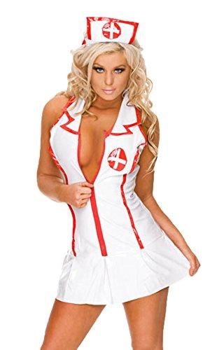 Strumpfhalter Kleid Satin Weiss Kostüm - CZIXUN Reizvolle Wäsche Damen Weiß Krankenschwestern Uniformen Versuchung Anzug