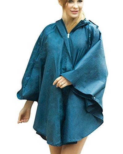 Donna Casual Giacca Impermeabile Antipioggia Poncho Con Cappuccio Mantella Antipioggia Blu marino