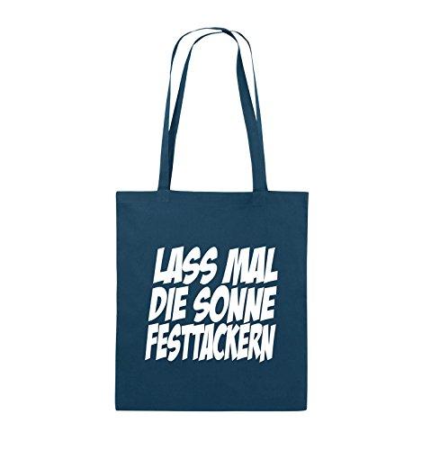 Comedy Bags - LASS MAL DIE SONNE FESTTACKERN - Jutebeutel - lange Henkel - 38x42cm - Farbe: Schwarz / Silber Navy / Weiss
