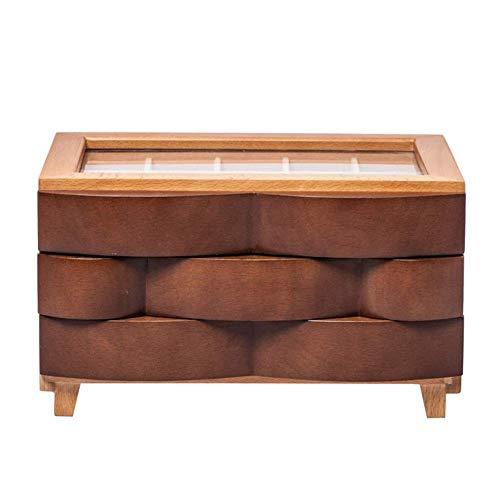ZKORN Schmuckschatulle lagerung zubehör europäischen Stil hohe kapazität chinesische mehrschichtige massivholz (Farbe: braun, größe: 24x18,5x14 cm)