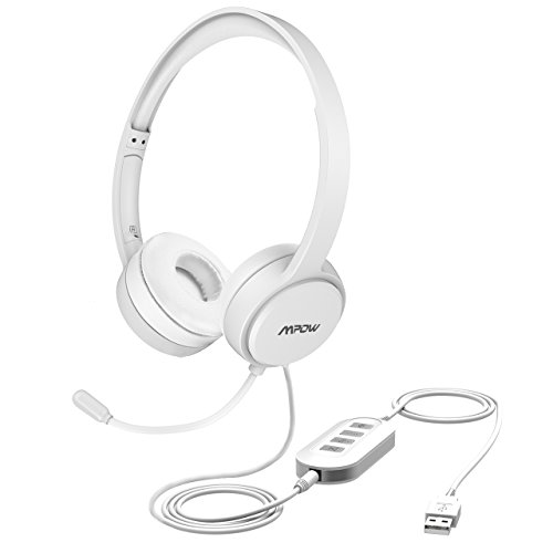 Mpow USB Headset/3.5mm Computer Chat Headset mit Mikrofon Geräuschunterdrückung, PC Headset Wired Kopfhörer Business Headset für Skype, Telefon, Call Center usw. - Die Einfach Ps4 Sie Bewegen