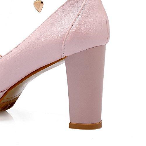Chiaro Agoolar Moglie Tacco Scarpe Misti Fibbia Colore Materiali Rosa Col Solido Rotondi Alto HxxnUa