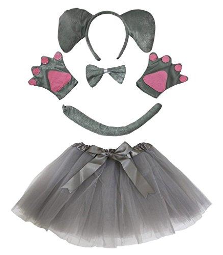 petitebelle Elefant Stirnband Schleife Schwanz Handschuh Rock 5-teiliges Kostüm für Lady Gr. One Size, grau