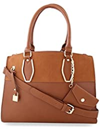éléspry Brown PU Bag with adjustable straps(MB-11834-BR)