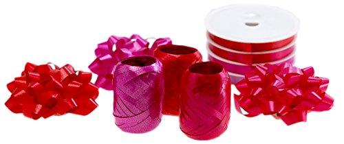 autooptimierer.de Ringelband Geschenk Schleifen Geschenkband Set 3 Kräuselbänder 3 Große Geschenk Schleifen Rosetten 4 Geschenkbänder Geschenkverpackungs-Set (Rot) Rot Rosette