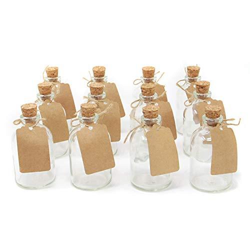 flaschen | Hochzeitsdekorationen Gefälligkeiten | 50ml Glasflaschen mit Korkdeckeln | Enthält beigefügte Etiketten | Küchendekorationen | M & W ()