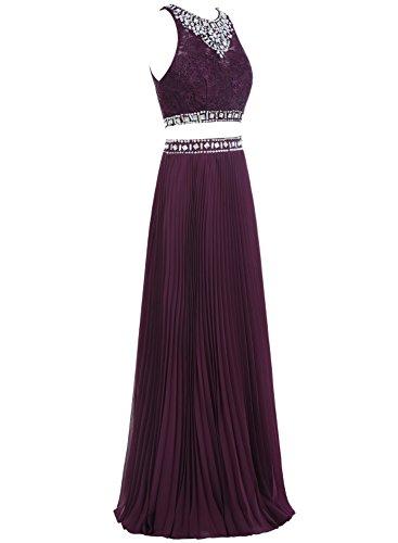 Bbonlinedress Robe de soirée et de bal plissée à paillettes sans manches deux pièces longueur ras du sol en mousseline Rouge