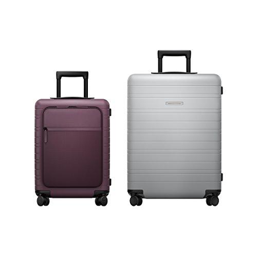 HORIZN STUDIOS Travel Set | M5 Handgepäck & H6 Check-In Reisekoffer (M) | 2 TLG. Hartschalenkoffer Trolley Set, Lila/Hellgrau (Marsala/Light Quartz Grey) -