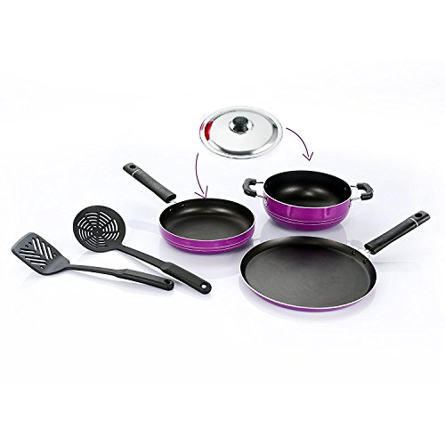 Omic Kitchen Non Stick Cookware Sets Combo Offer Heavy Thick Body Cooking Dosa Tawas, Frying Pan, Kadhai & 2 Pcs Spatula Premium Quality Utensils - Non Sticky PTFE PFOA Free Coating With Best Performance Multipurpose Round Chef Pans Set