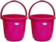 Princeware Super Delux Bucket Having Capacity of 7 Ltrs Each in Set of Two Available in Pink Colour