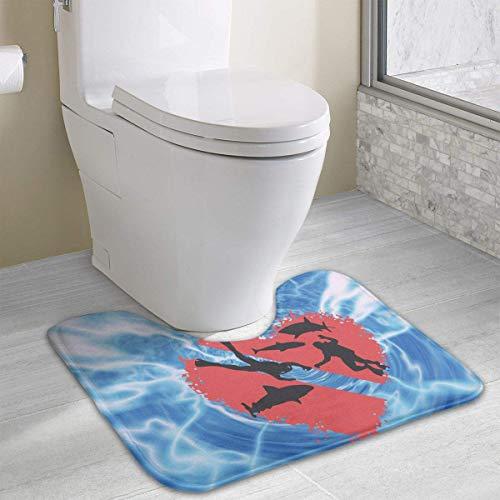 Hoklcvd Taucher mit Haien Splash Heart U-förmige Toilette Bodenteppich Rutschfeste Toilette Teppiche Badezimmer-Teppich (Dodger Gnome)