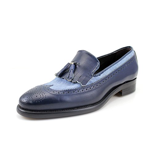GIORGIO REA Mocassins Chaussures Pour Hommes Fabriqués à la Main en Italie, Élégant, Cérémonie, Haute Couture, Cuir Véritable de Qualité Bleu