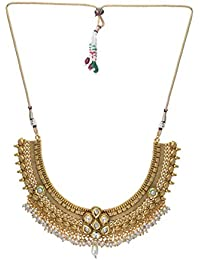 Jewel Hevean Golden Pendant Necklace Set For Women