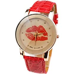 Red lips women's crystal fashion strap watch