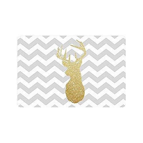 Glitter Deer Head Gray and White Chevron Pattern Non Slip door or Mat Fußabtreter Home Decor Rectangle 23.6 X 15.7 Inch Glitter Slip