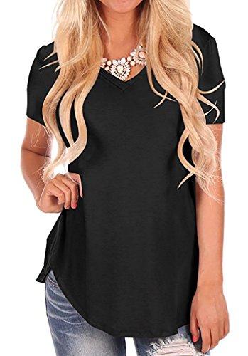 Casual Kurzarm Asymmetrisch Top Gemütlich T Shirt Schwarz S ()