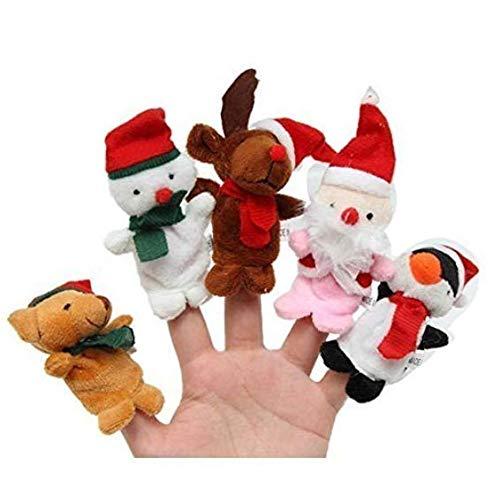 (WeieW Stilvolles Zubehör für zu Hause 5PCS Spaß-Weihnachtsweihnachtsmann-Elch-Karikatur-Finger-Spielzeug-Kindergeschichte-Stützen (Farbe : Random Color, Größe : 8x4x2cm))